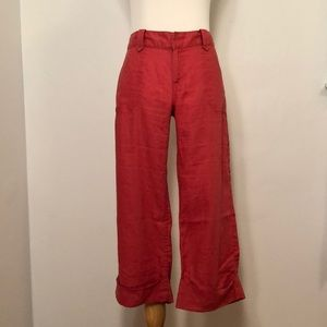 Red Linen Cropped Pants